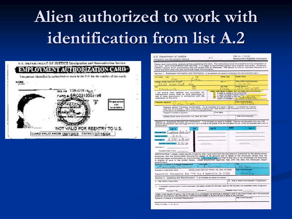 Alien authorized to work with identification from list A.2