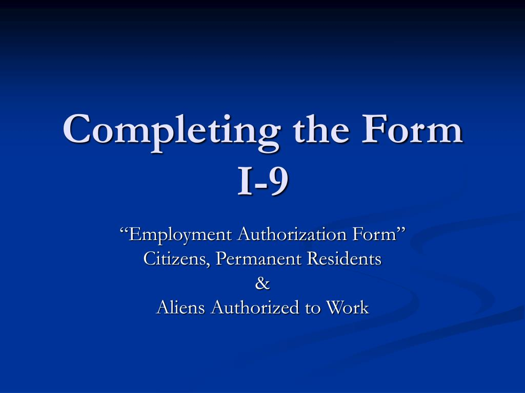 completing the form i 9