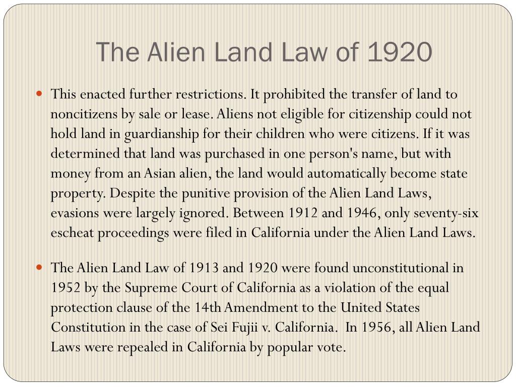 The Alien Land Law of 1920