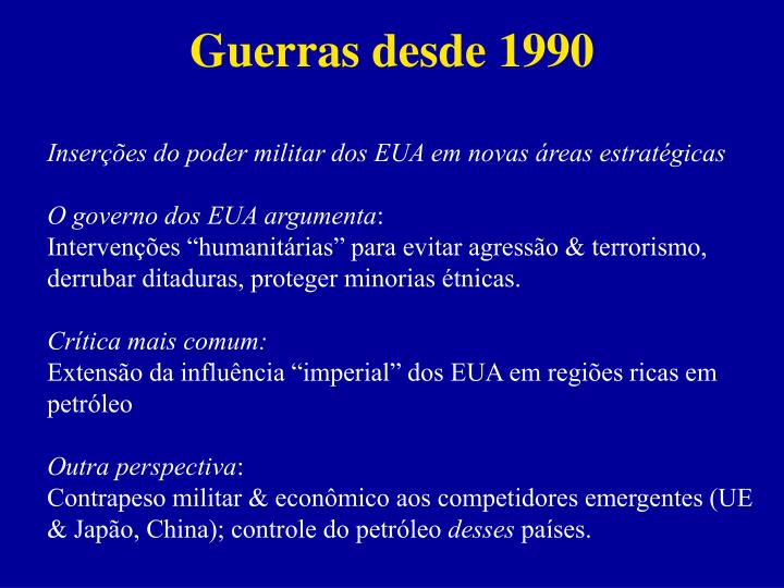 Guerras desde 1990