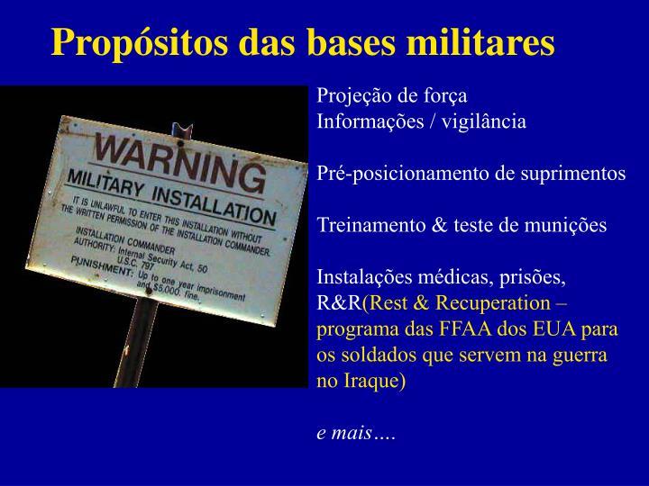 Propósitos das bases militares