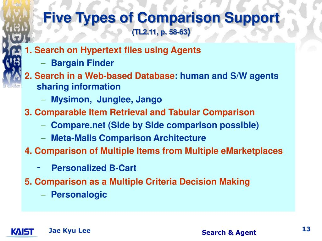 Five Types of Comparison Support