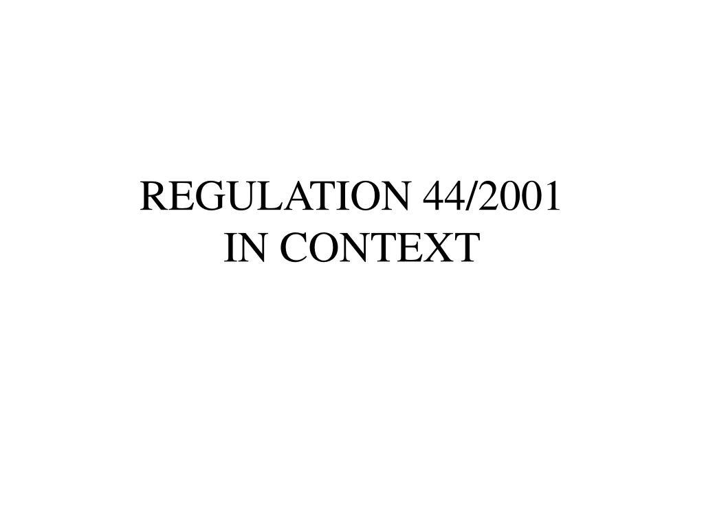 REGULATION 44/2001