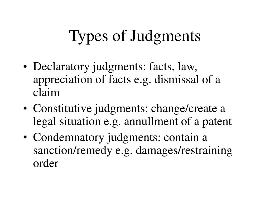 Types of Judgments