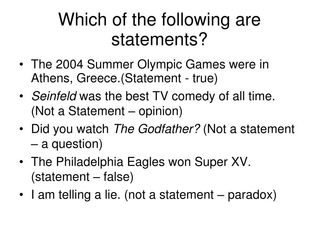 Which of the following are statements?