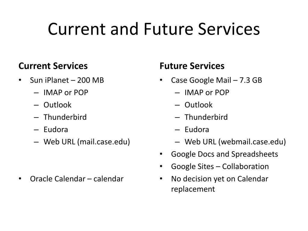 Current and Future Services