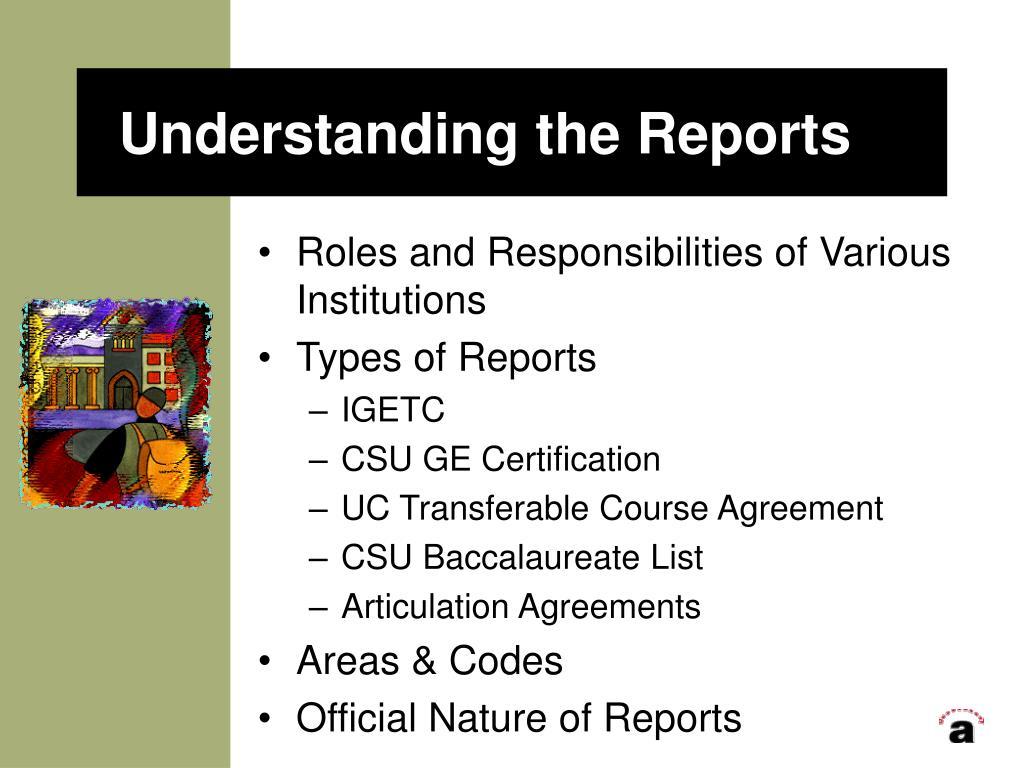 Understanding the Reports