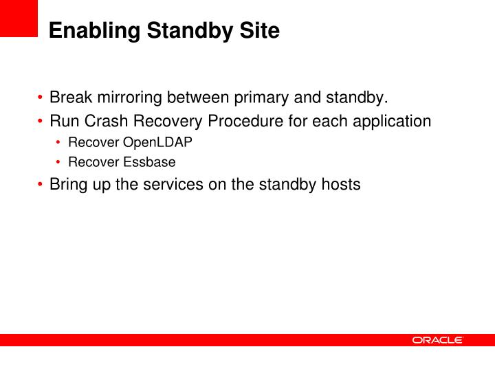 Enabling Standby Site