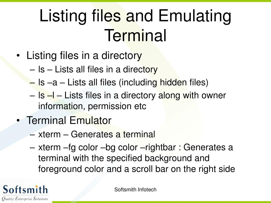 Listing files and Emulating Terminal