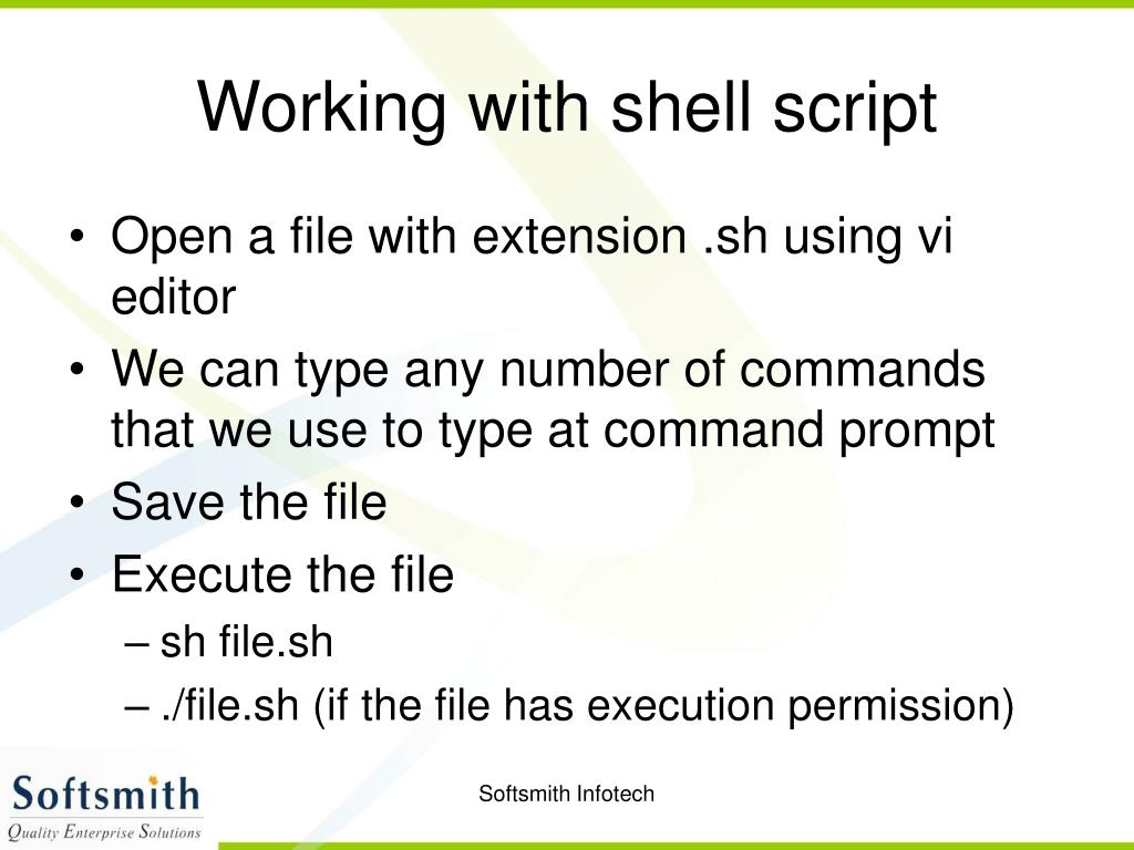 Working with shell script