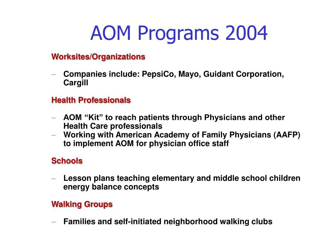 AOM Programs 2004