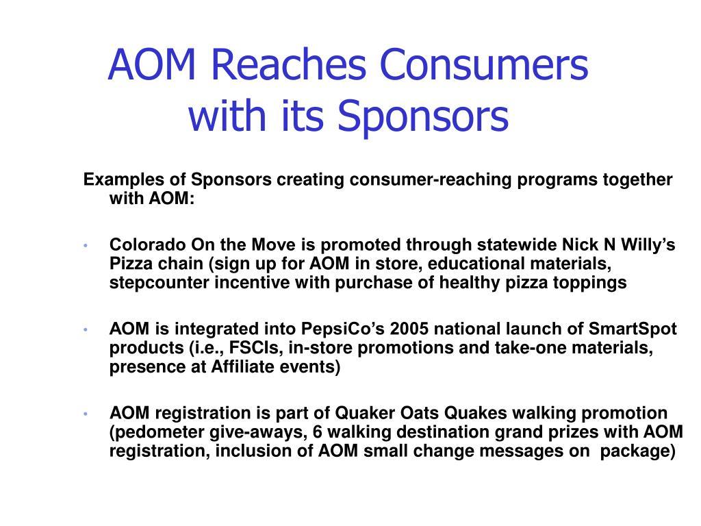 AOM Reaches Consumers