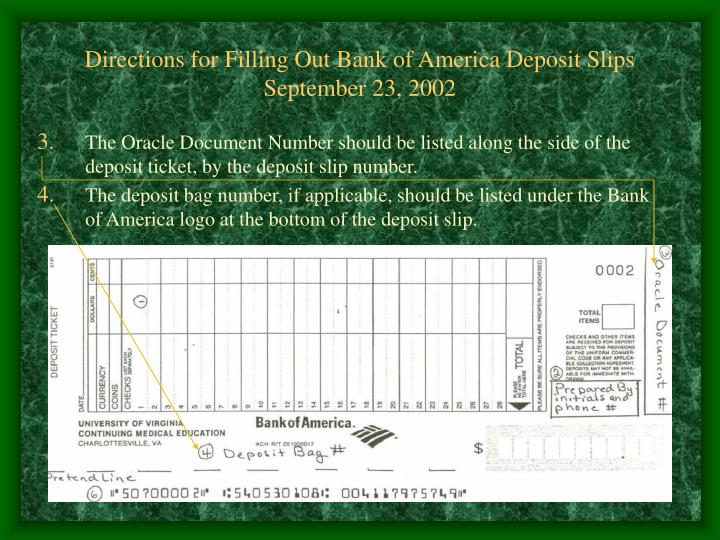 Directions for filling out bank of america deposit slips september 23 20021