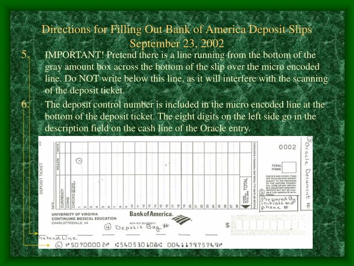 Directions for Filling Out Bank of America Deposit Slips