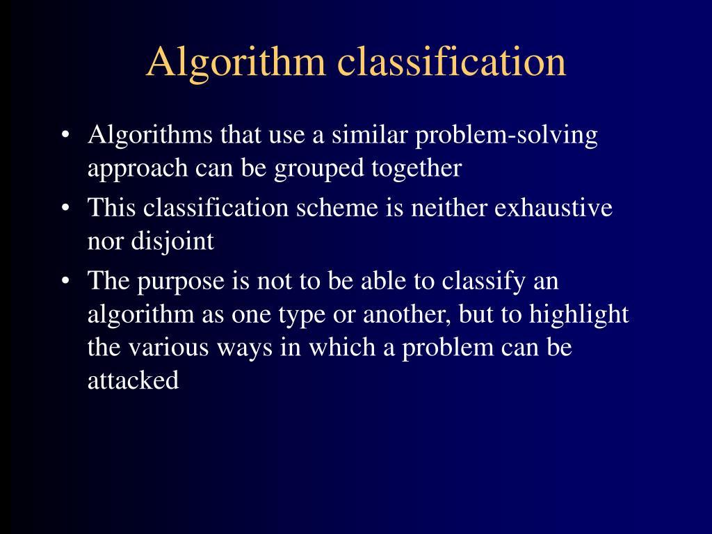 Algorithm classification
