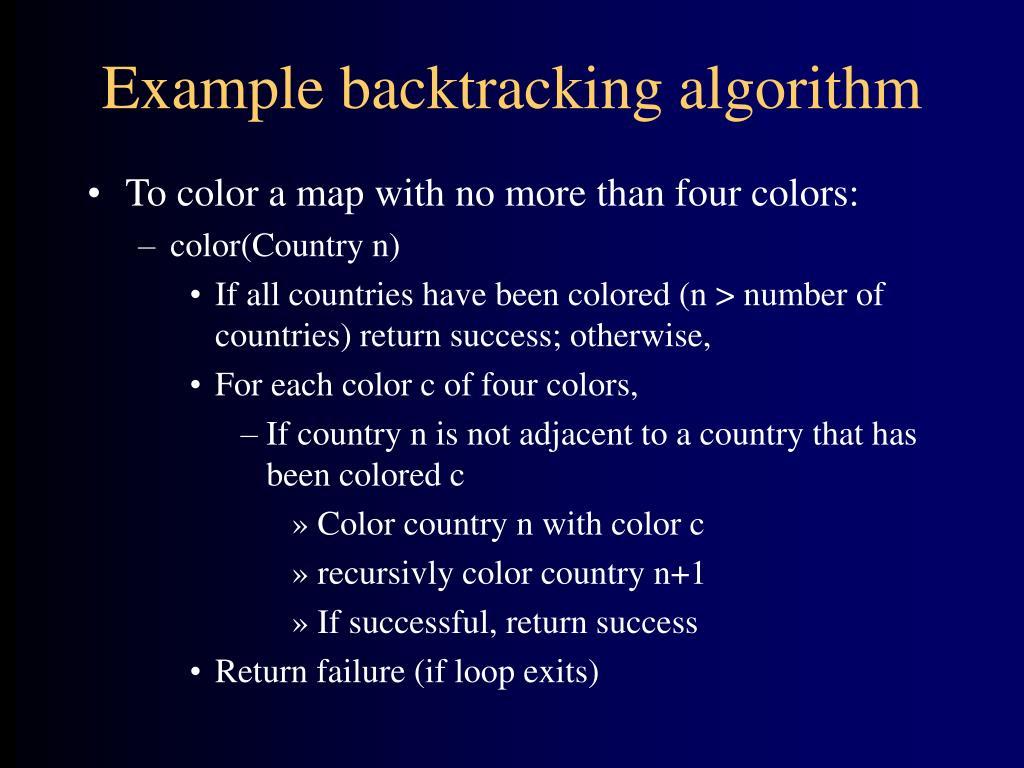 Example backtracking algorithm
