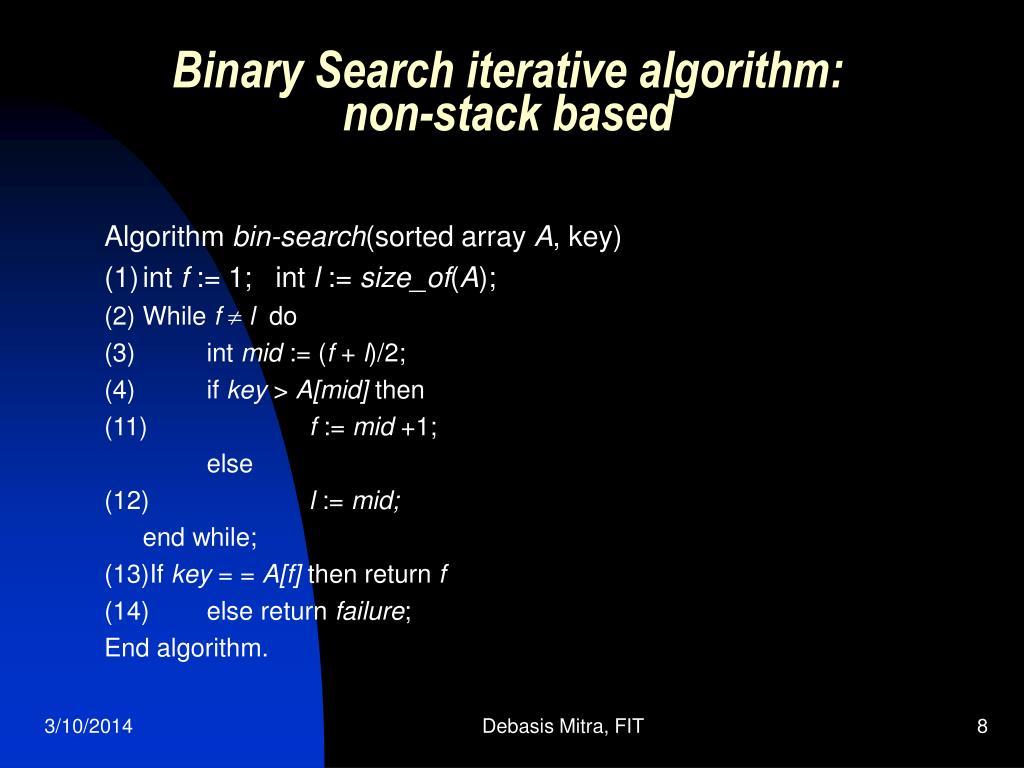 Binary Search iterative algorithm: