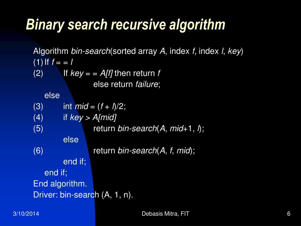 Binary search recursive algorithm