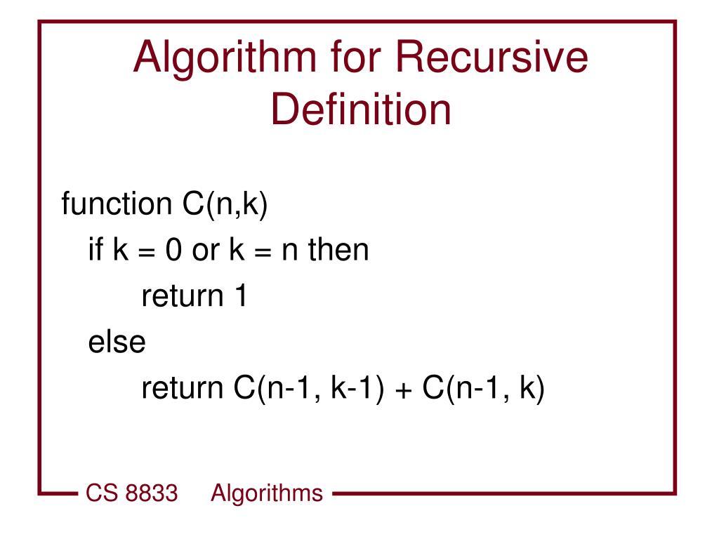 Algorithm for Recursive Definition