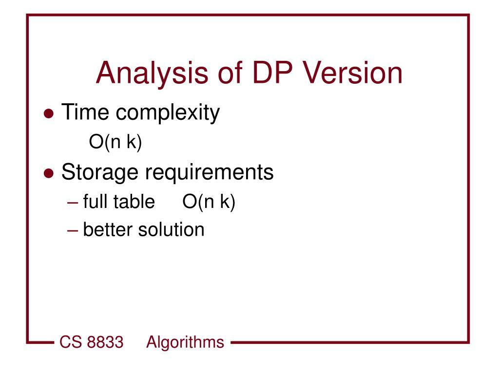 Analysis of DP Version