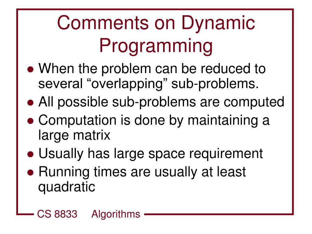 Comments on Dynamic Programming