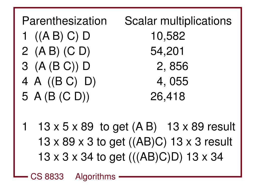ParenthesizationScalar multiplications
