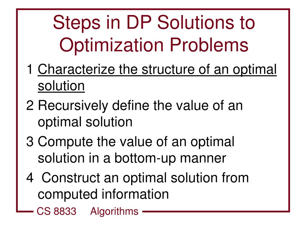 Steps in DP Solutions to Optimization Problems