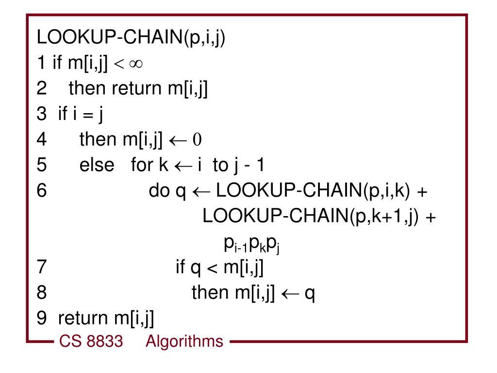 LOOKUP-CHAIN(p,i,j)