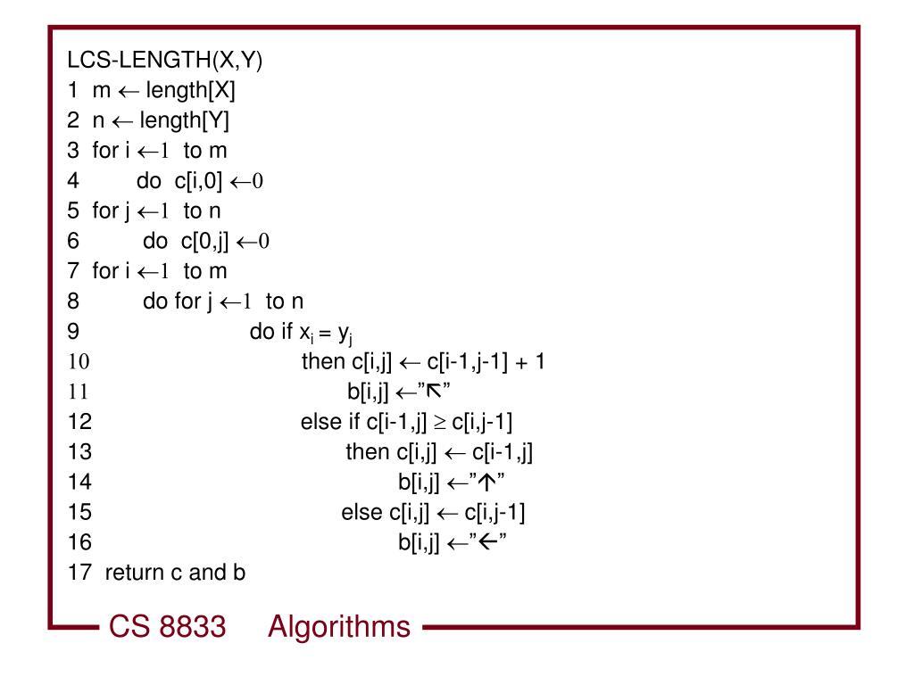 LCS-LENGTH(X,Y)