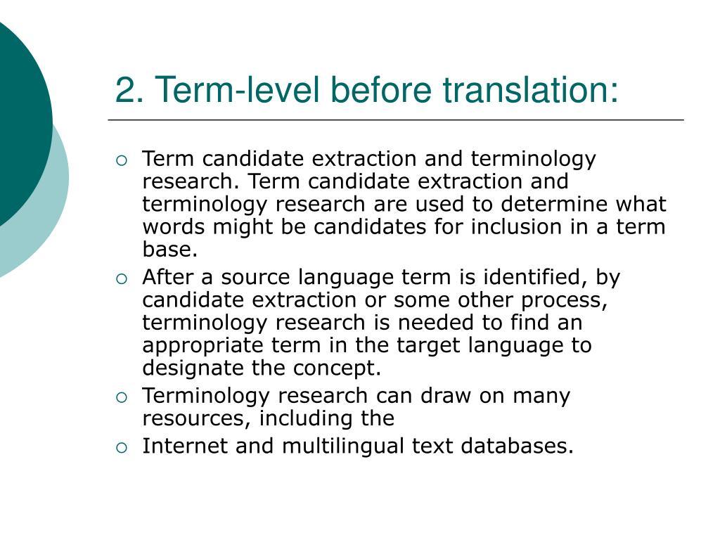 2. Term-level before translation: