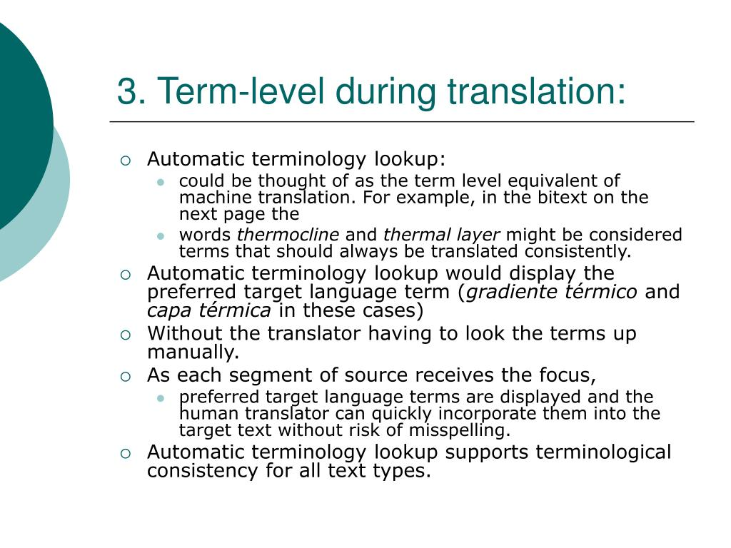 3. Term-level during translation: