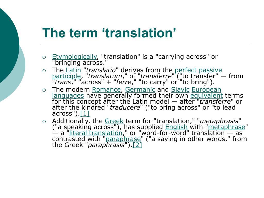 The term 'translation'