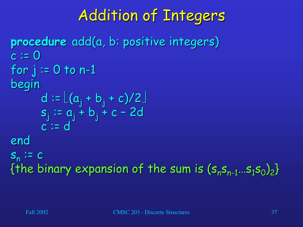Addition of Integers