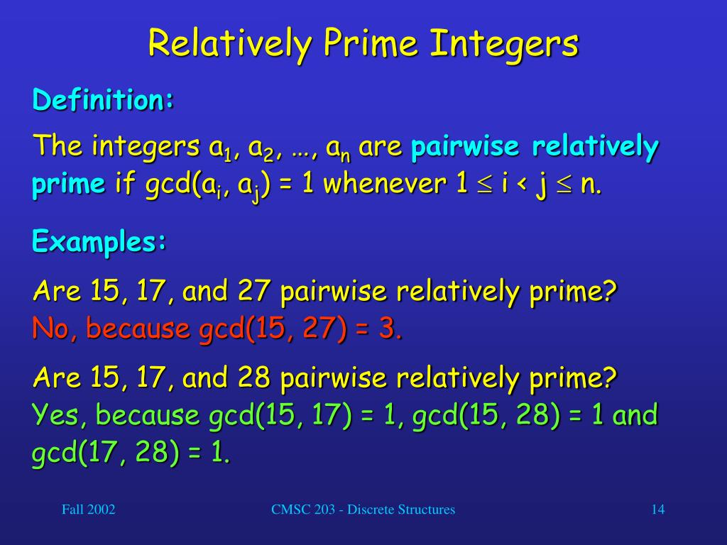 Relatively Prime Integers