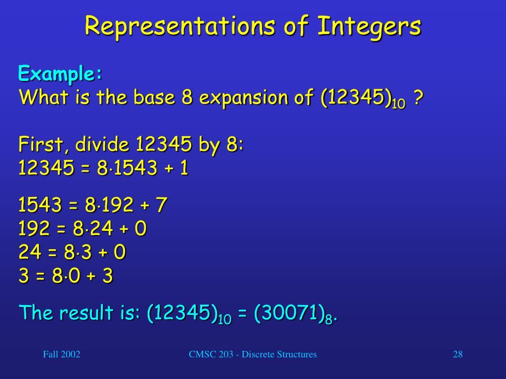 Representations of Integers
