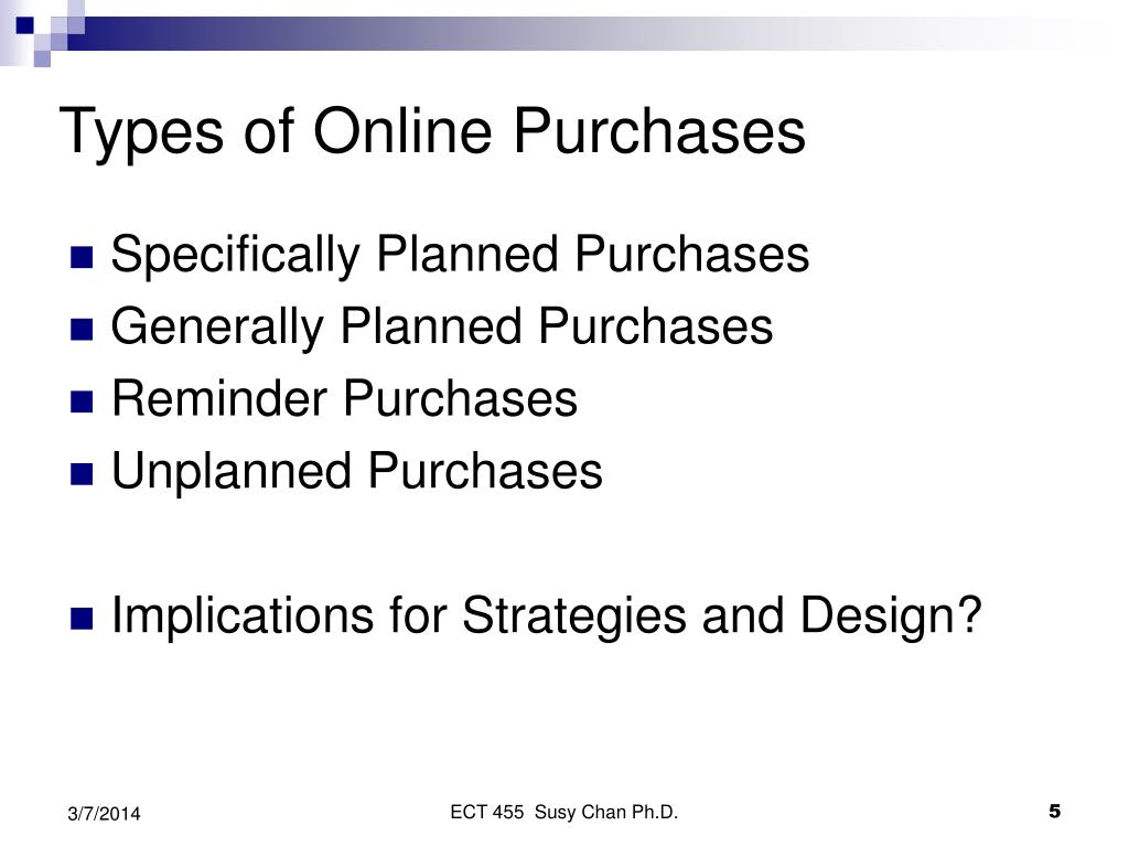 Types of Online Purchases