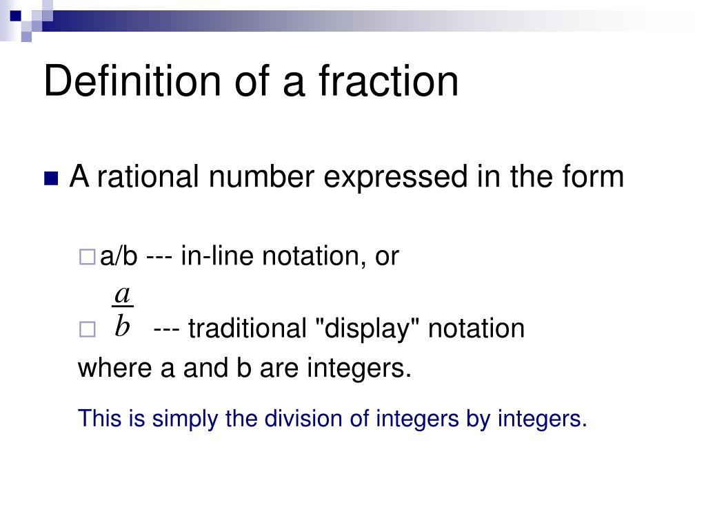 Definition of a fraction