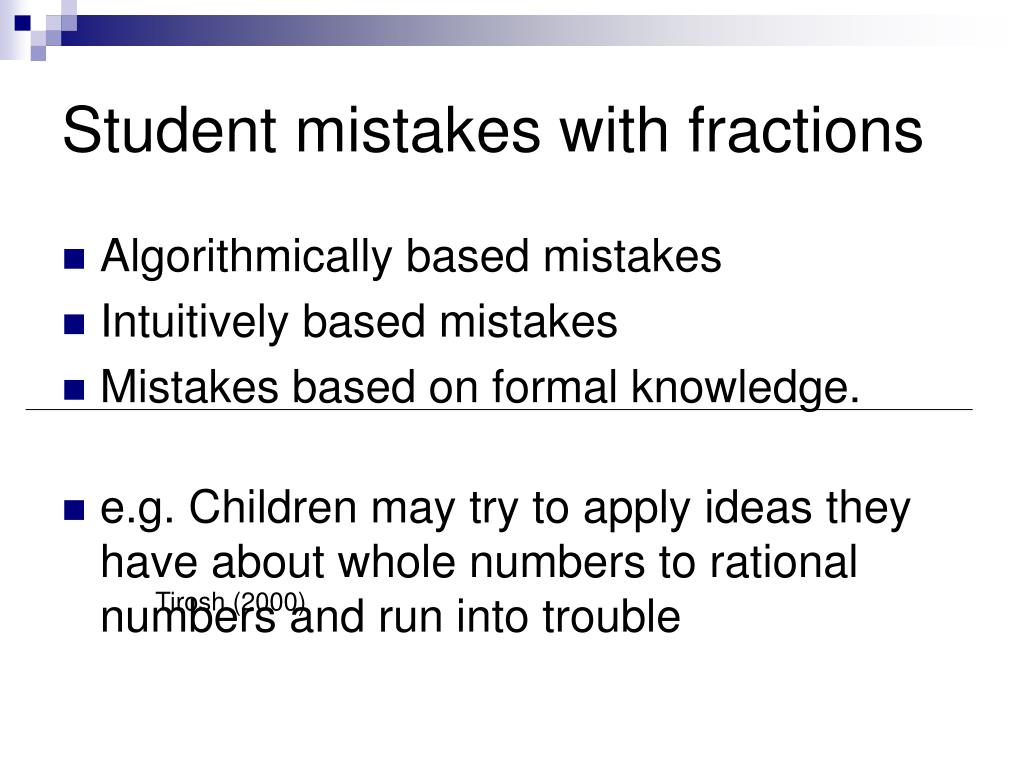 Student mistakes with fractions