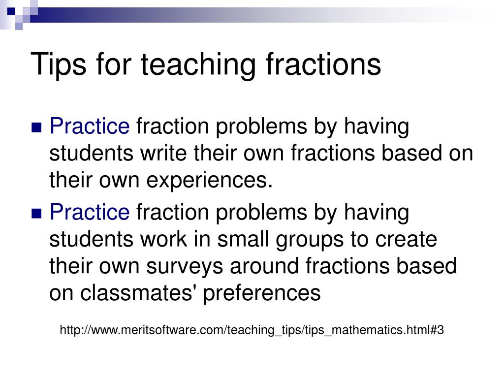 Tips for teaching fractions