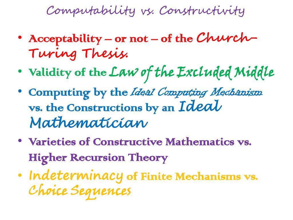 Computability vs. Constructivity