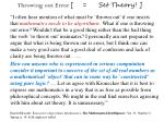 throwing out error set theory