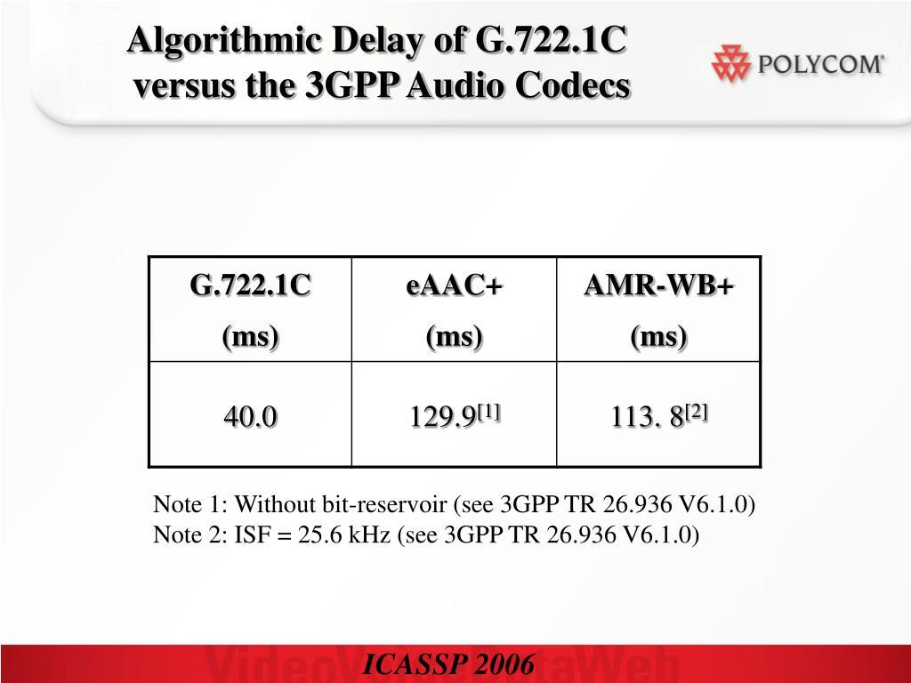 Algorithmic Delay of G.722.1C