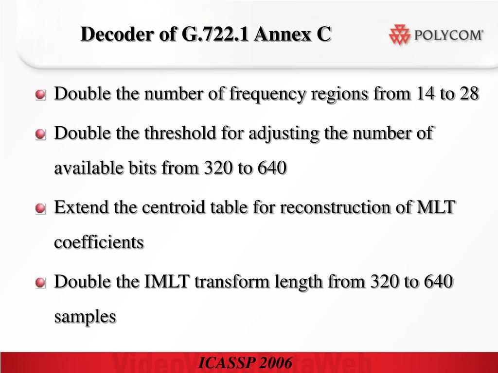 Decoder of G.722.1 Annex C