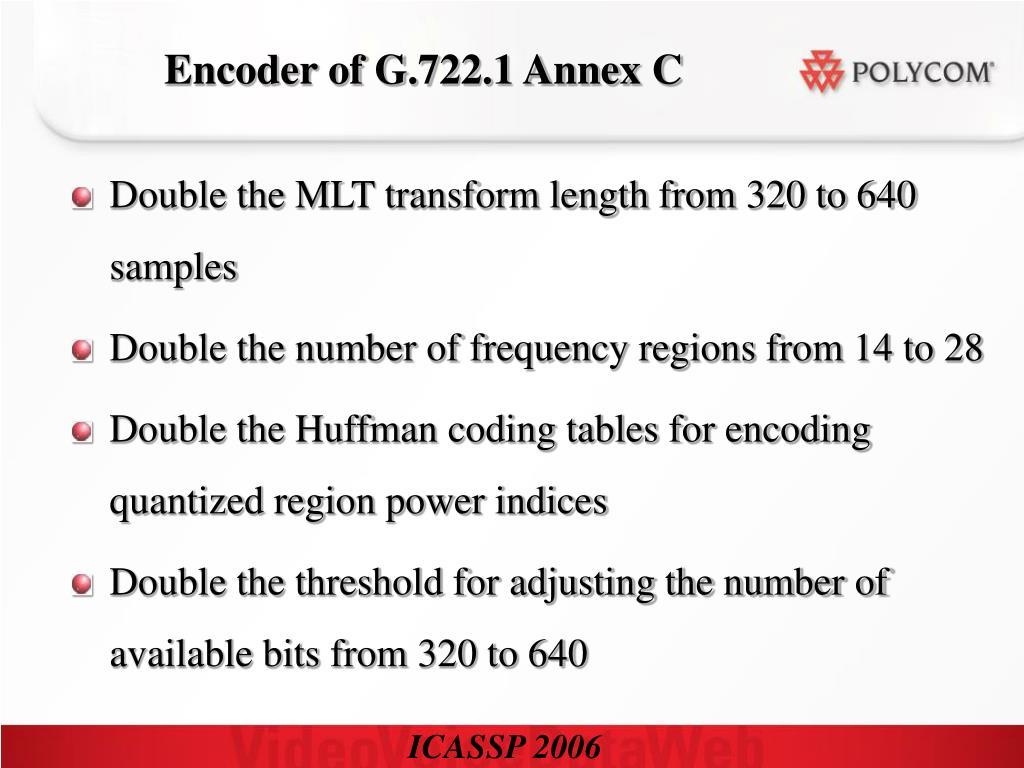 Encoder of G.722.1 Annex C