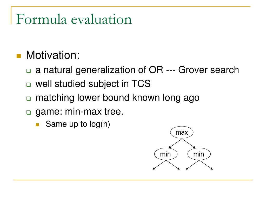 Formula evaluation