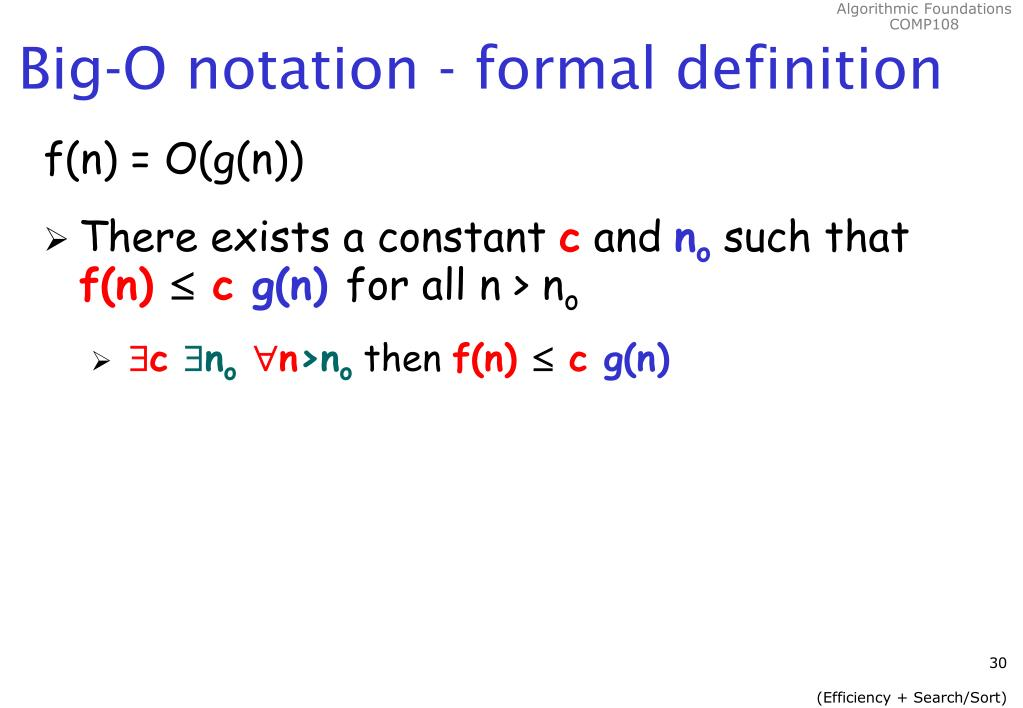 Big-O notation - formal definition