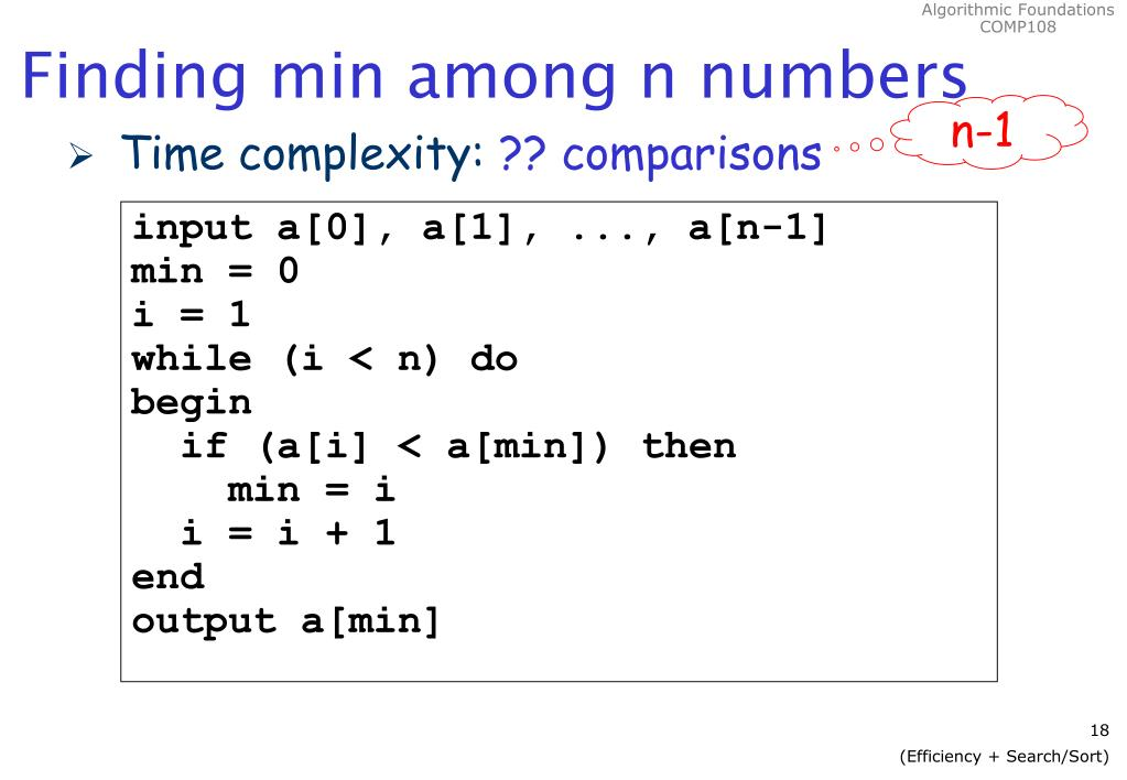 Finding min among n numbers