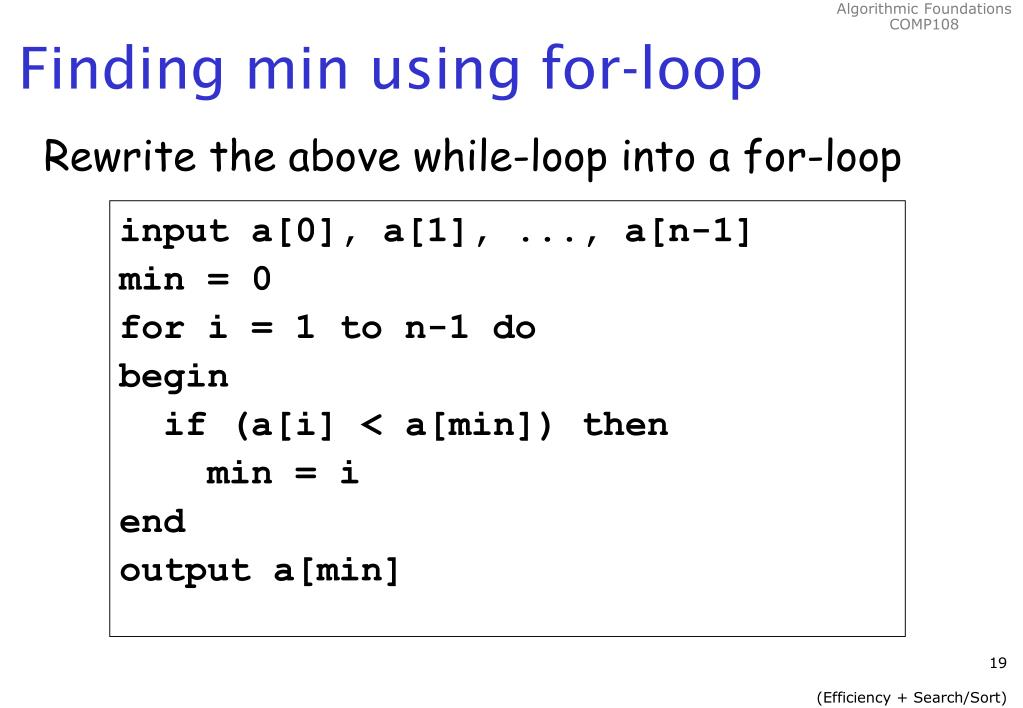 Finding min using for-loop