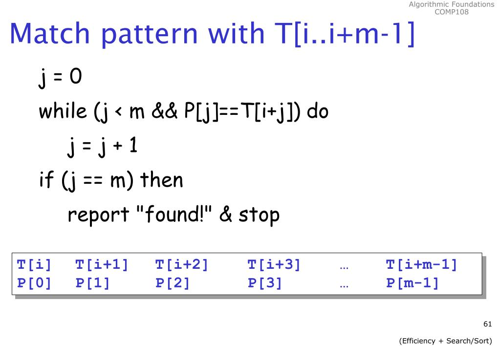 Match pattern with T[i..i+m-1]