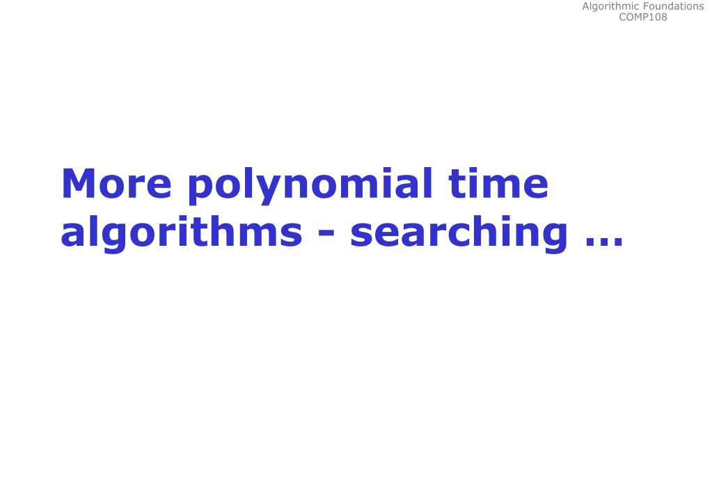 More polynomial time algorithms - searching …
